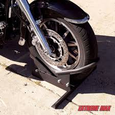 motorcycle wheel chock stand bike storage garage parking trailer hauling steel extrememax
