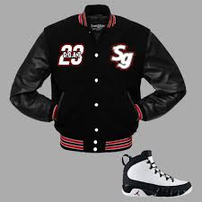 g o a t varsity jacket to match jordan 9 og space jam