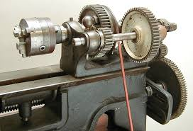 treadle metal lathe. change gears, ajust and set the lathe gears to cut threads. treadle metal