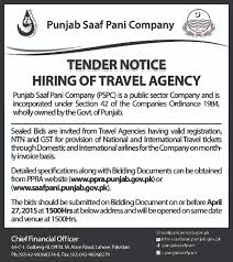 procurements punjab saaf pani company tender hiring of travel agency services