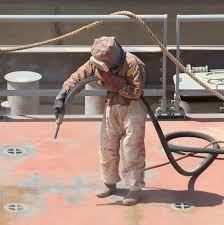abrasive blasting of metal structures