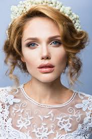 make up glamour portrait of beautiful woman model with fresh makeup and romantic wavy hairstyle