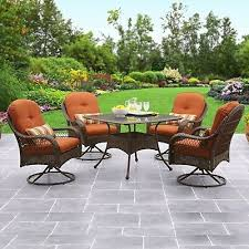 wicker patio dining set glass table top
