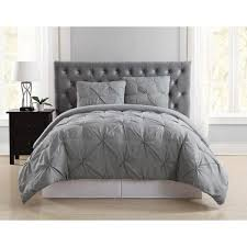 everyday pleated grey twin xl duvet set truly soft
