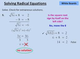 false no solution solving radical equations white boards solve