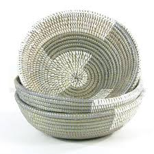 This is a hand woven African medium deep bowl basket in gray made ...