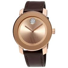 movado 3600395 uni bold brown leather rose dial