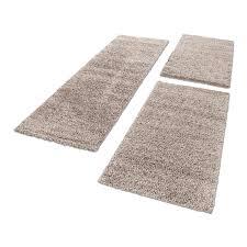 Shaggy Hochflor Teppich Carpet 3tlg Bettumrandung Läufer Set Schlafzimmer Flur Farbebeige Bettset2x60x1101x80x250