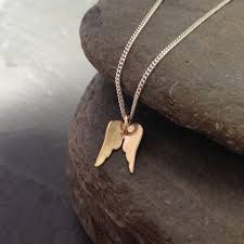 9ct gold angel wing pendant necklace personalised on back 1421 p jpg