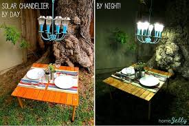 before and after of the solar chandelier