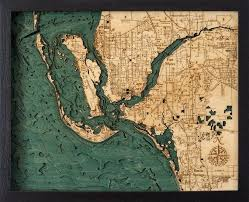 Lake Conroe Nautical Chart Ft Myers Wood Carved Topographic Depth Chart Map In 2019