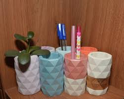 Concrete Marble Vases, Pen cups for desk, Toothbrush holders ...