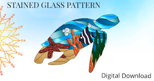 sea turtle silhouette with ocean living sun glass stained glass patterns supplies