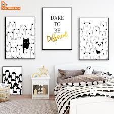 fulboy bear cat gold letter wall art print canvas painting nordic poster black white animal wall pictures kids room decor from aliceer 29 79 dhgate com