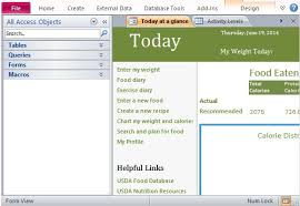 Calorie Tracker Chart Desktop Nutrition Tracking Database Template For Access 2013