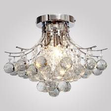 loco chrome finish crystal chandelier with 3 lights mini style flush mount ceiling light fixture for study room office dining room bedroom living room