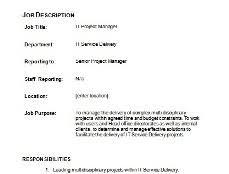 Project Manager Job Description It Project Manager Job Description