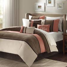 madison park palisades queen size bed comforter set bed in a bag c brown pieced stripe 7 pieces bedding sets micro suede bedroom comforters