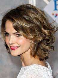 side bangs curly hairstyle for round face