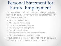 th grade icap goal setting overview review importance of  personal statement for future employment if your post secondary training or college does not require