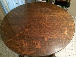 5 of 7 antique claw foot tiger oak dining table with glass top 40 round