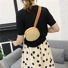 Small <b>Straw Belt Bag Waist Bags</b> Round <b>Women</b> Leather Handbag ...