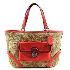 Coach Straw Pocket Tote Bag 22904 Natural Tangerine Orange