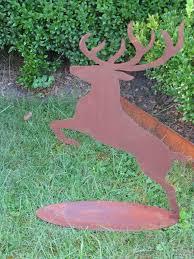 Weihnachtsdeko Rentier Jäger 63cm Springend Hirsch Edelrost