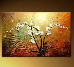 White Flowers Oil Painting Hand Painted Wall Art - Ready to Hang - FL-0001