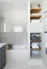 bathroom white subway tile mosaic floor tile glass shower tub white subway tile bath