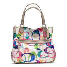 Lyst - Coach Poppy Stamped C Hallie Eastwest Tote