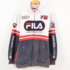 90s fila fila ducati corse ドゥカティコルセデカロゴビッグロゴ sleeve logo motorcycle sweat shirt blouson men xl wal2506
