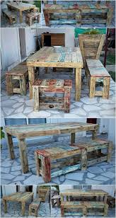 For the garden seating need, here is an idea for creating rustic shipping  pallet table with benches. The benches you can see are of two sizes, ...