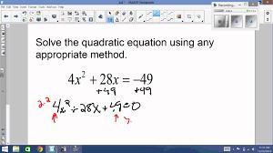 4 8 solve quadratic equations using any method