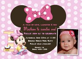 minnie mouse first birthday invitations with the present invitation of nice looking design character 5
