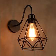 wrought iron sconces. Simple Iron Wall Lamp Lights Sconces Fixture With Wrought Iron Diamond Shape Metal Cage  Frame For Indoor Restaurant Intended