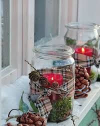 glass jars christmas crafts outdoor luminaries pinecones ribbons decorating  ideas