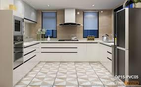 modern white high gloss pvc kitchen cabinet op15 pvc05