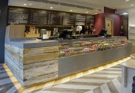 Simple Bar Counter Design Grey Solid Surface And Wood Snacks Bar Counter