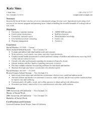 Social Work Resume Social Worker Sample Resume Social Worker Sample