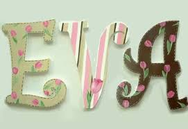 eva hand painted decorative hanging wood wall letters tulips