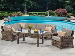 contempo 6 pc resin wicker outdoor sectional seating group with conversation height coffee table