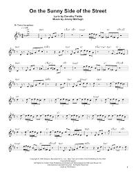 Tenor Sax Chart On The Sunny Side Of The Street By Sonny Stitt Tenor Sax Transcription Digital Sheet Music