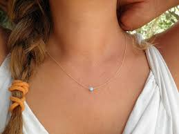 opal necklace tiny one 4mm blue opal necklace gold necklace bridesmaid gift minimalist