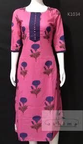 Simple Kurti Neck Designs Images Code K1034 Price Inr 1300 Printed Cotton Kurti