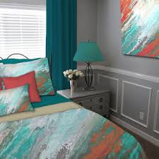 teal and gray bedroom. abstract duvet cover, teal gray aqua coral, queen king full twin, bedding set and bedroom