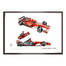 The ferrari f2004 was built by the scuderia for the 2004 f1 world championship: Ferrari F2004 Technical Drawing Art Print Rossoautomobili