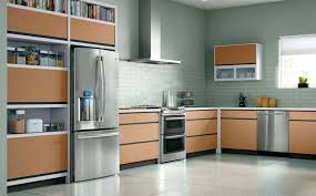 Wood kitchen cabinets with built-in appliances, portable cabinets and contemporary  kitchen island design