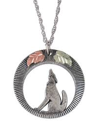 black hills gold sterling silver wolf pendant w necklace blackhillsgold direct klugex