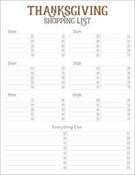 Thanksgiving Grocery List Template Thanksgiving Meal Planners Shopping List Printables Free